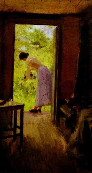 in a summer cottage 1895 the tretyakov gallery moscow russia